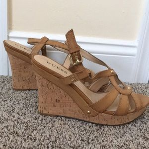Cork leather wedges